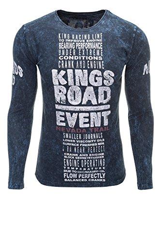 Key Largo Herren Langarmshirt Longsleeve Used Look Print Shirt Dark Blue