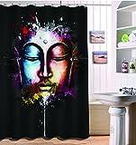 LB 180x180cm Polyester Stoff Bad Vorhänge mit 12 Haken Wasserdicht Abbildung von Buddha 3D-Druck Gemusterten Duschvorhang für Bad Dekoration