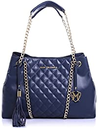 The Wendy Functional Tote Handbag Purse In Beige, Black, Or Navy Blue By Greg Michaels (Navy Blue)