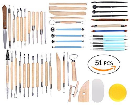 Winterworm 51 tlg Satz Modellierwerkzeug Modellierset für Ton Gips Modellbau Malerei Wachs Töpfer Knetmasse