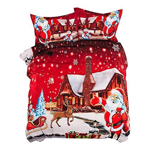 Jeromoe10Dan 2 STÜCKE / 3 STÜCKE Weihnachten Bettbezug Kissenbezug Weihnachtsmann Ultra Weiche Mikrofaser Schlafzimmer Bettwäsche Abdeckung Sets -