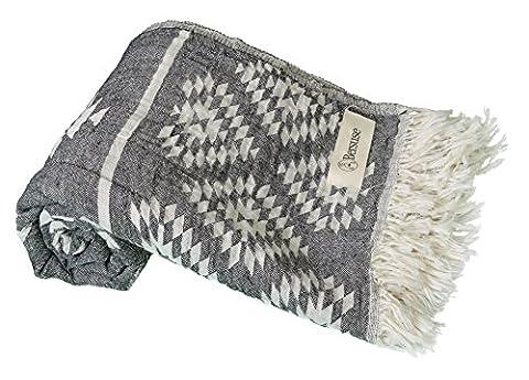 Bersuse 100% Baumwolle - Teotihuacan Türkisches Handtuch - Badestrand Fouta Peshtemal - Azteken Design auf Handwebstuhl gewebtes Pestemal - 100X180 cm, Anthrazit