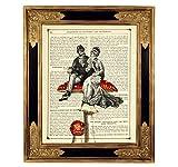 Liebespaar Pilz Kunstdruck auf antiker Buchseite Hochzeit Geschenk Valentinstag Verlobung Bild Poster Steampunk ungerahmt