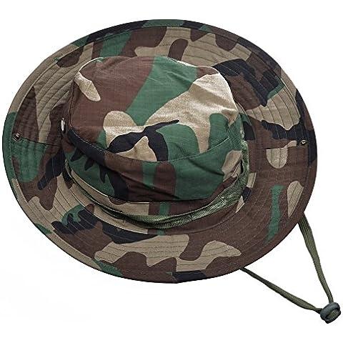 MerryBIY 2 en 1 Sombrero del cubo de Deportes al Sol-shading Sol Gorro aire libre Boonie Hat Cap de Camuflaje Hombre Exterior Selva Equipo Montañismo Sombrero Viaje Pesca Hat (Woodland Camo)