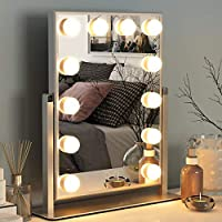 Ovonni Vanity Makeup Lighted Mirror with 12 Detachable LED Bulbs and 2 Replacement Bulbs 2 Colors Touch Control Dimmable Brightness 360° Rotating for Bedroom Dressing Table
