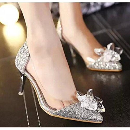 DIMAOL Scarpe Donna Primavera Sintetico Caduta Comfort Tacchi Stiletto Heel per Casual Oro Argento Argento