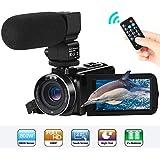 Camcorder Videokamera FHD 1080P 24MP 3''LCD-Touchscreen IR Nachtsicht Digitalkamera 16X-Digitalzoom YouTube Vlogging Kamera Recorder mit externem Mikrofon und Fernbedienung, 2 Batterien