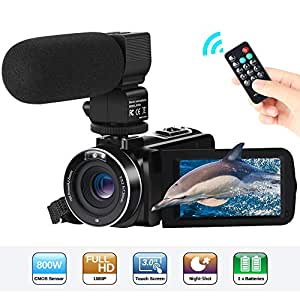 Camcorder Video Camera FHD 1080P 24MP 30FPS 3''LCD Touch Screen IR Night Vision Digital Camcorders 16X Digital Zoom YouTube Vlogging Camera Recorder with External Microphone,Remote Control,2 Batteries