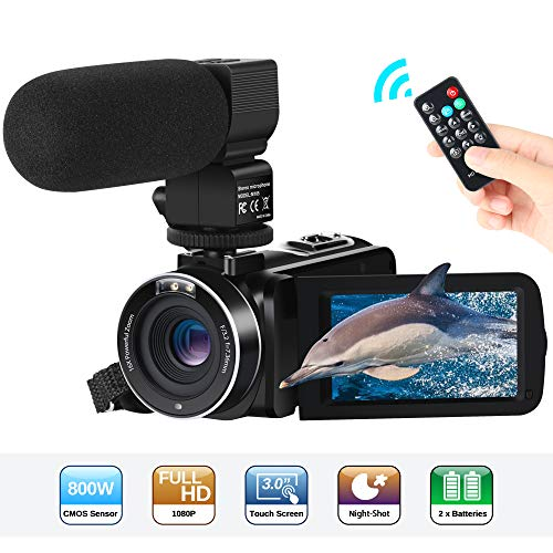 Camcorder Videokamera FHD 1080P 24MP 3''LCD-Touchscreen IR Nachtsicht Digitalkamera 16X-Digitalzoom YouTube Vlogging Kamera Recorder mit externem Mikrofon und Fernbedienung, 2 Batterien High-definition 1080p Lcd