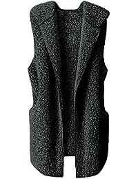 ZIYOU Female Outwear Weste Winter, Damen Warm Hoodie Jacke Faux Fur/Frauen Casual Ärmellose Lange Jacke Kapuze Vest Mäntel