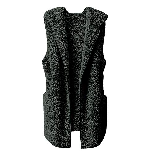ESAILQ Damen Weste Winter Warm Hoodie Outwear Faux Reißverschluss Sherpa Jacke(L,Schwarz)