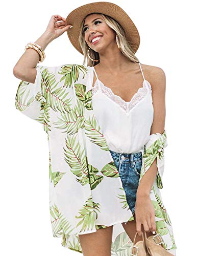 Zexxxy Frauen Strand Cover Up Boho Chiffon Sommerkleid Beach Cover up Leicht Tuch für die Sommermonate am Strand oder See Grün 2XL Chiffon Drop