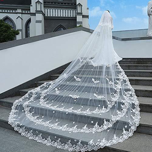 MLYC Damen 2 Tier Kathedrale Spitze Blumen Hochzeit Brautschleier mit Kamm -