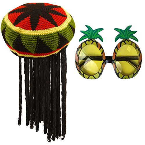 Labreeze Jamaican Rasta Hat with Dreadlocks Wig & Pineapple Glasses Caribbean Costume Set (Jamaican Hüte)