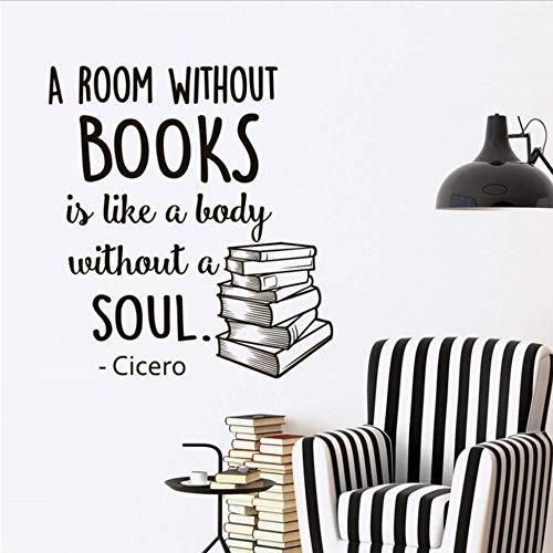 Wymw Wandtattoo Zitate Über Bücher Ein Zimmer Ohne Bücher Ist Wie Ein Körper Ohne Seele Wandaufkleber Vinyl Home Decor Wandkunst 58 * 65Cm