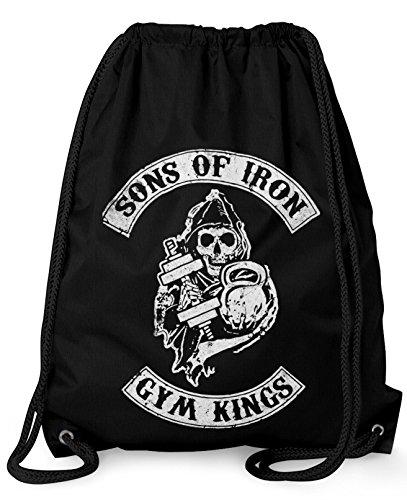 'StyloTex–Adhesivo Turn Bolsa Sons of Iron Gym Kings Hipster Bolsa Gym Bag Funda stringbag Bolsa, negro