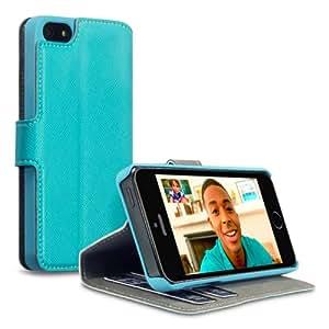 Terrapin Delux Leder Tasche Case Hülle im Bookstyle mit Standfunktion Kartenfächer für iPhone 5S Blau