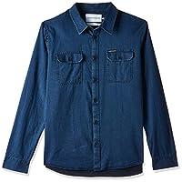 Calvin Klein Jeans Men's Herrigbone Ls Shirt, Blue (Indigo 435), Small