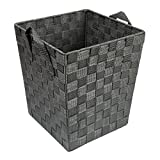 EHC Woven Waste Paper Bin Basket with Hollow Handle, Grey