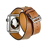 FOTOWELT for Apple Watch Armband, Doppel Tour-echtes Leder-Uhr-Band Luxus Cuff Bandwechsel für Apple-Uhr iWatch Modelle 38mm -Braun