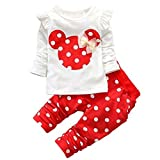 Jastore® 2pcs Minnie Kopf Outfit Set Herbst Frühling Nette Baby Kind Kleidung Langarm Shirt Tops Bluse + Hose Leggings für 3-8 Jähriges Mädchen (80, Rot)