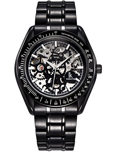Alienwork IK mechanische Automatik Armbanduhr Skelett Automatikuhr Uhr Herren Uhren modisch Design Metall schwarz 98545G-S-01