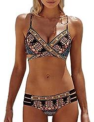 Bluestercool Femmes Maillot de bain Bohemia Push-Up Soutien-gorge rembourré Ensemble de bikini de plage