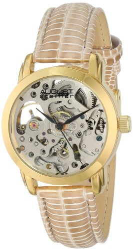 August Steiner Women's AS8033YG Skeleton Automatic Strap Watch