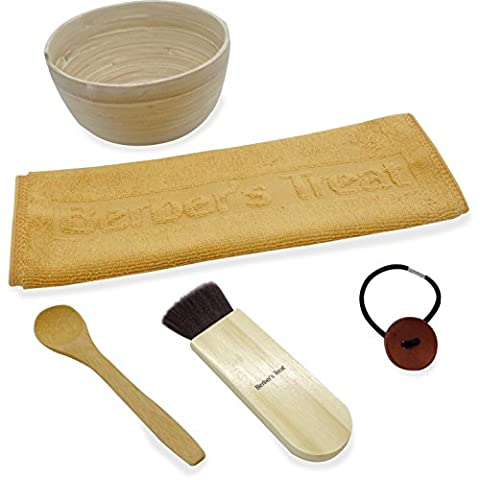 DIY Hausgemachte Lehm Gesichtsmaske Schüssel Set - Bambus Schüssel, Löffel, Pinsel & Gesicht Stoff - Verwenden Sie für das Mischen von Bentonit, Rhassoul oder andere Tone und Heilungsmasken