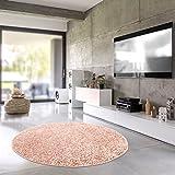 Shaggy-Teppich Pastell | Flauschige Hochflor Teppiche fürs Wohnzimmer, Esszimmer, Schlafzimmer oder Kinderzimmer | Einfarbig, Schadstoffgeprüft (Rose - 120 cm rund)
