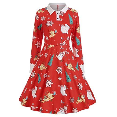 XNBZW Femmes Bonhomme De Neige Robes de Noël À Manches Courtes Imprimer Vintage Costume Robe de Fête Swing Rouge D L
