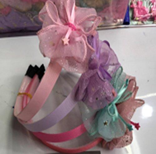 Mädchen Stirnbänder - 4er Pack Spitze Schleife Bowknot Haarbänder für Kinder, Prinzessin Headwear Zubehör in 4 verschiedenen Farben für kleine Mädchen und Erwachsene