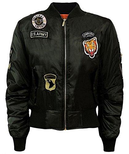Juicy Trendz Damen Damen Klassisch Armee Militär Luft Kraft Stil Kampf Abzeichen Bomber Jacke Biker Mantel Black M
