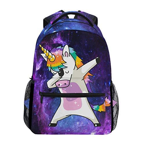 Galaxy Womens Rucksack (Wamika Dabbing Unicorn Rucksäcke Nebula Galaxy Laptop Book Bag Cute Funny Casual Extra Durable Backpack Lightweight Travel Sports Day Pack for Men Women)