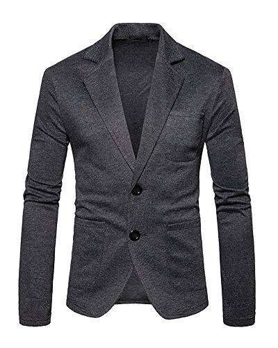 Herren Beiläufiger Sakko Blazer Jacke Zwei Tasten Freizeit Anzug Jacken Reine Farbe Jackett Anzugjacken Dunkelgrau L