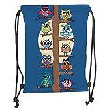 ZKHTO Drawstring Sack Backpacks Bags,Kids Boys and Girls Room Decor,Owls Cartoon Theme Nursery on Tree Night Light Full Moon Art Decor, Soft Satin,5 Liter Capacity,Adjustable String Closure,T