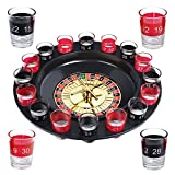 Evelots Drinking Game Glass Roulette W/ 2 Balls & 16 Shot Glasses, Casino Style by oob