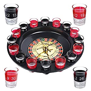 Evelots Drinking Game Glass Roulette W/2 Balls & 16 Shot Glasses, Casino Style