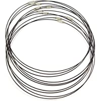 ❤️HobbyHerz 10 x DrahtKette aus Edelstahl und Nylon | Ketten, Choker, Schmuck selber Machen | Halskette aus Draht mit silbernem SchraubVerschluss (Schwarz)