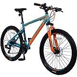 KRON XC-100 Hardtail Aluminium Mountainbike 29 Zoll, 21 Gang Shimano Kettenschaltung mit Scheibenbremse | 18 Zoll Rahmen MTB Erwachsenen- und Jugendfahrrad | Blau & Orange