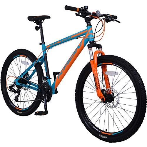 KRON XC-100 Hardtail Aluminium Mountainbike 26 Zoll, 21 Gang Shimano Kettenschaltung mit Scheibenbremse | 16 Zoll Rahmen MTB Erwachsenen- und Jugendfahrrad | Blau & Orange