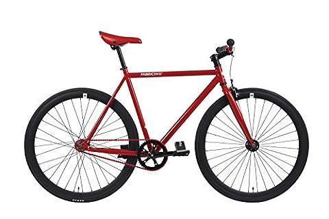 FabricBike- Vélo fixie rouge, fixed gear, Single Speed, cadre Hi-Ten acier, 10Kg (Red & Black, S-49)