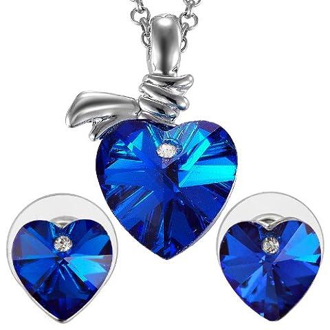 Riva 18K Weissgold Vergoldet Zirconia Herz Blau Saphir Trauung