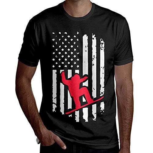 Herren Snowboardfahren Amerikanische Flagge Sommer Kurzarmhemd Lustige T-Shirts Coole T-Shirts Lässig Bedruckt(XL,XL) -