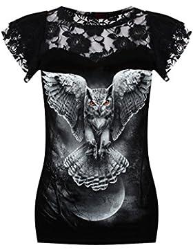 Alas de la sabiduría, búhos fantasía de metal gótico superior con mangas casquillo de encaje y cuello negro -...