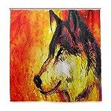 BIGJOKE Duschvorhang, Galaxy Animal Wolf, schimmelresistent, wasserdicht, Polyester, 12 Haken, 182,9 x 182,9 cm, Heimdekoration