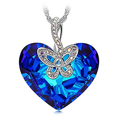 "J NINA ""Butterfly Love"" Women Pendant Necklace made with Heart Shape Bermuda Blue SWAROVSKI® crystals, Nickel-Free, 45+6cm extender"