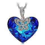 J NINA Papillon Amour Collier Femme cristaux SWAROVSKI Cadeau Femme Bleu Coeur Bijoux Cadeau Anniversaire Cadeau Noel Saint Valentin Cadeau Fete Des Meres Cadeaux Maman Pour Mère Fille épouse Petite