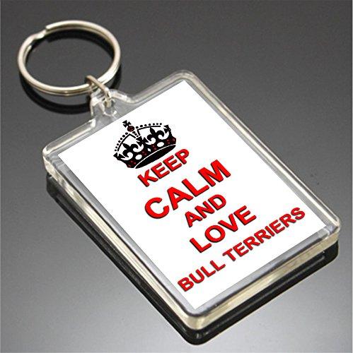 KEEP CALM AND LOVE BULL TERRIERS SCHLÜSSELANHÄNGER SCHLÜSSELRING