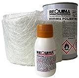 Kit de réparation en polyester 1kg (1kg résine + 1m²mat-300+ 25g Catalyseur)